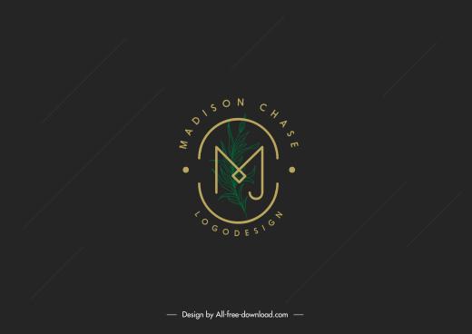 logo template leaf text decor flat dark