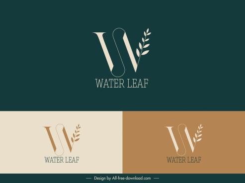 logo template leaf text sketch flat design