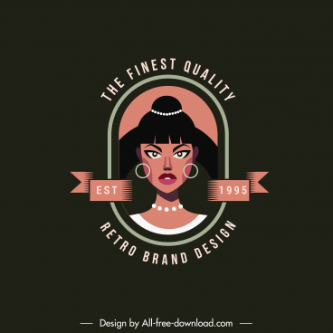 logo template woman portrait sketch dark retro design
