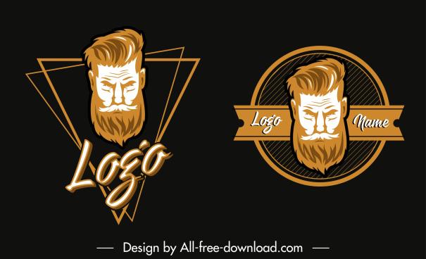 logo templates beard man face sketch geometric decor