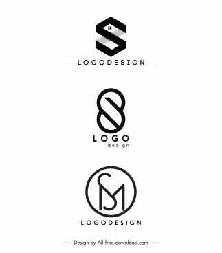 logo templates black white flat shapes