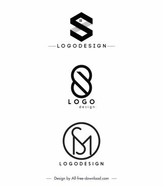logo templates black white flat shapes