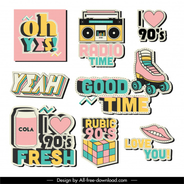 logo templates colorful vintage flat decor