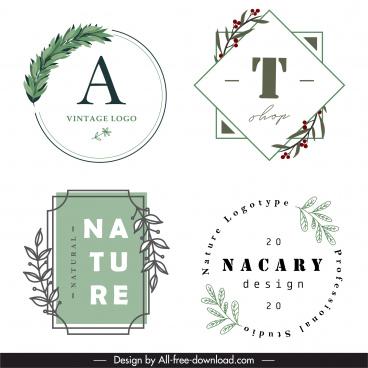 logo templates elegant classical plant decor