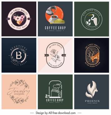 logo templates elegant flat decor