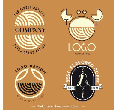 logo templates flat retro fingerprint crab bell sketch