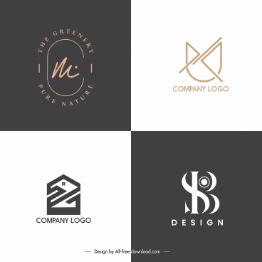 logo templates flat sketch modern abstract