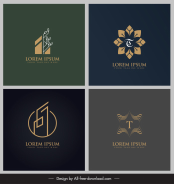 logo templates flora leaf symmetry geometric flat sketch
