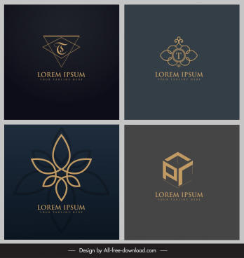 logo templates flora triangle cubic flat 3d sketch