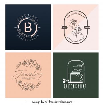 logo templates leaves coffee sketch flat handdrawn