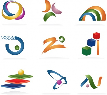 logotype templates modern colorful 3d shapes