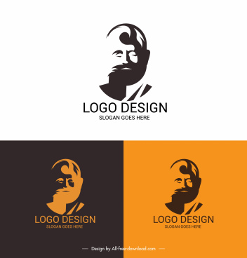 logotype template man face sketch silhouette design