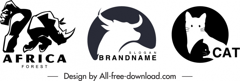logotype templates gorrila buffalo cat sketch flat handdrawn