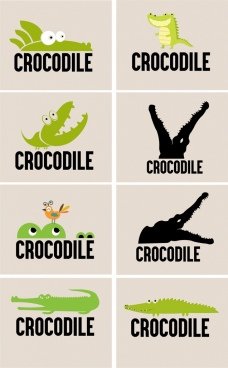 logotypes collection crocodile icons various green black design