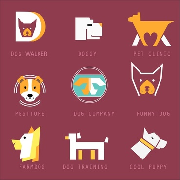 logotypes collection design with various dog emblems