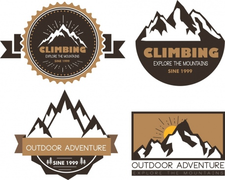 logotypes collection mountain icon various design