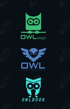 logotypes collection owl icons various flat design