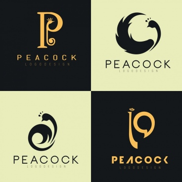 logotypes collection peacock icon decor