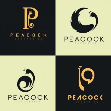 logotypes collection peacock icon decor