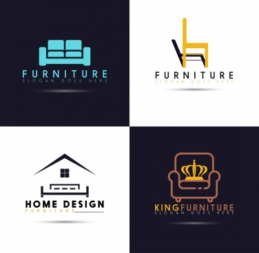 logotypes isolation furniture icons flat design
