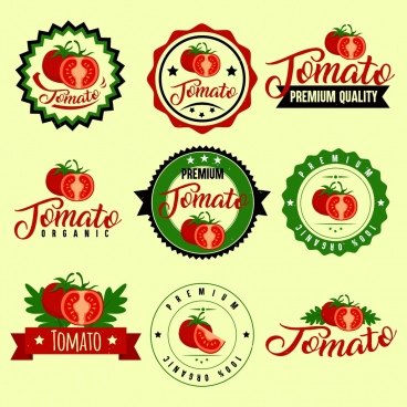 logotypes isolation red tomato icon various shapes