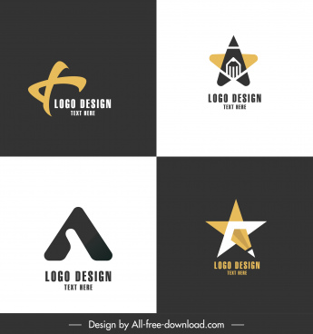 logotypes templates flat contrasted design