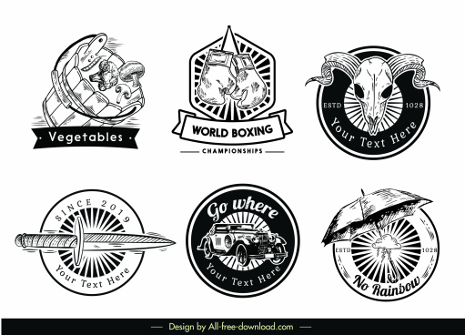logotypes templates retro black white emblems decor