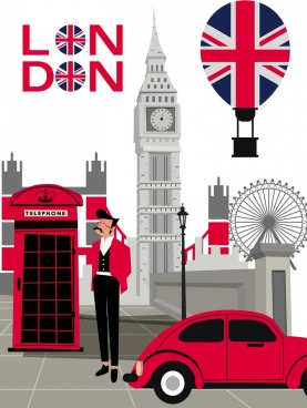 london advertising background colored symbols elements decor
