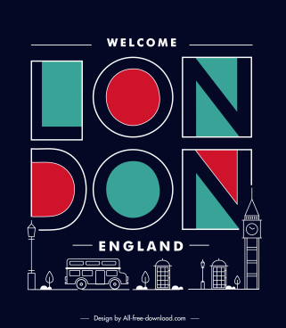 london advertising banner dark flat texts symbols sketch
