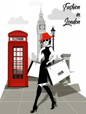 london fashion banner lady landmark icons cartoon design