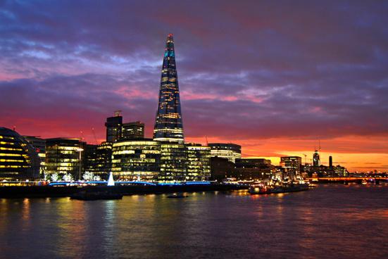 london sunset shard
