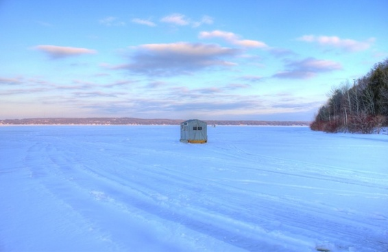 lonely fishing shack at potawatomi state park wisconsin