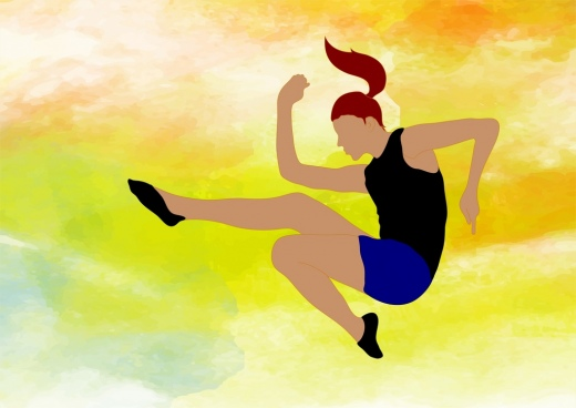 long jump athlete drawing water colored decoration