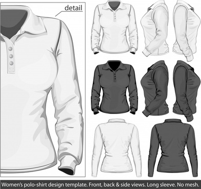 longsleeved shirt template vector