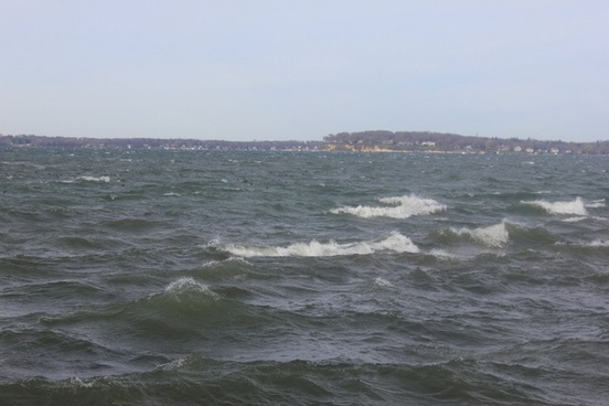 looking across lake mendota on a windy day in madison wisconsin