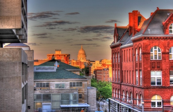 looking at the capital late afternoon in madison wisconsin