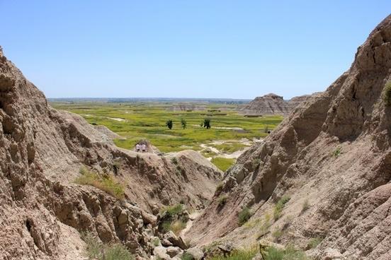 looking between the hills at badlands national park south dakota