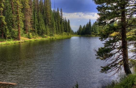 looking down the lake at rocky mountains national park colorado