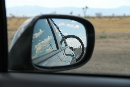 looking into car sideview mirror