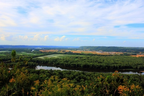 looking over and prairie du chien at wyalusing state park wisconsin