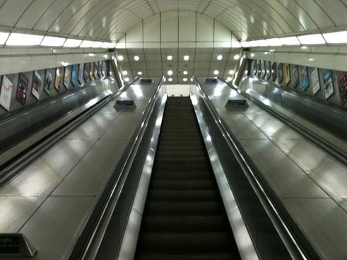 looking up an escalator