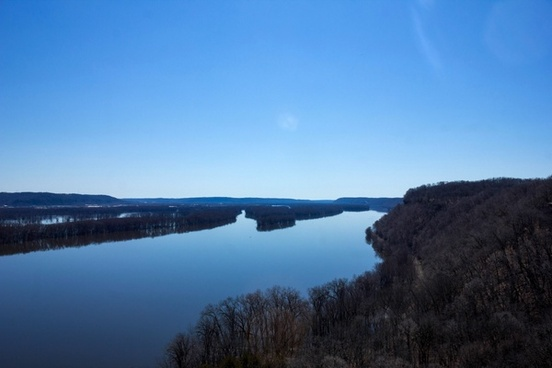 looking up and the river landscape at effigy mounds national memorial iowa