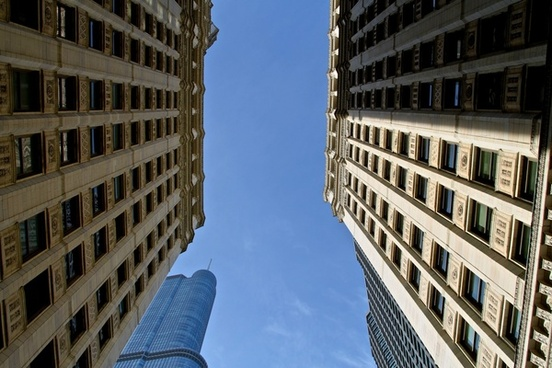 looking up between 2 buildings
