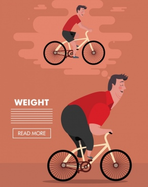 loss weight banner male riding bicycle webpage design