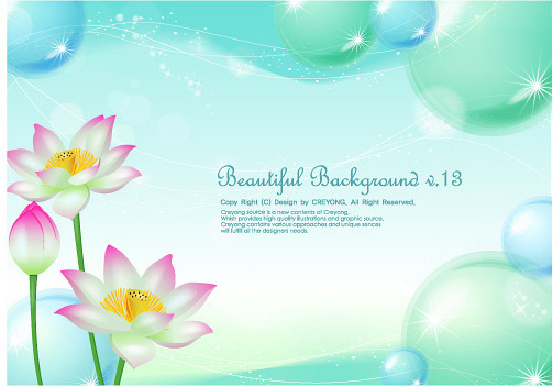 lotus and water bubbles vector graphics