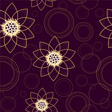 lotus background circle decoration repeating sketch