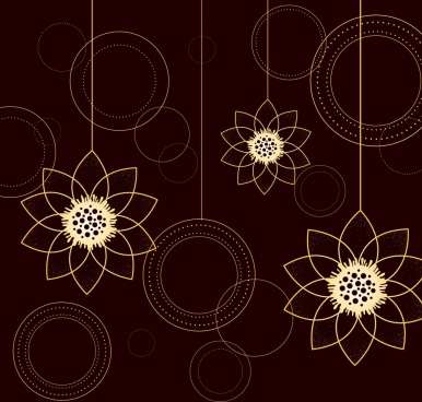 lotus background hanging icons sketch