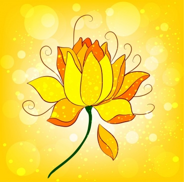 lotus icon sparkling yellow design cartoon sketch