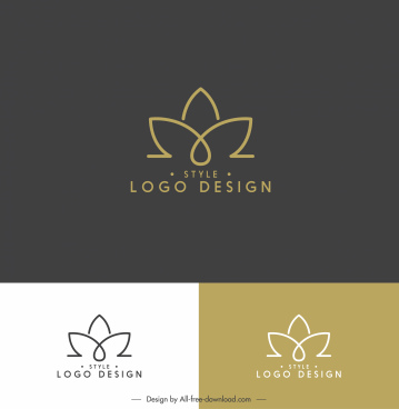 lotus logo template flat symmetric handdrawn shape