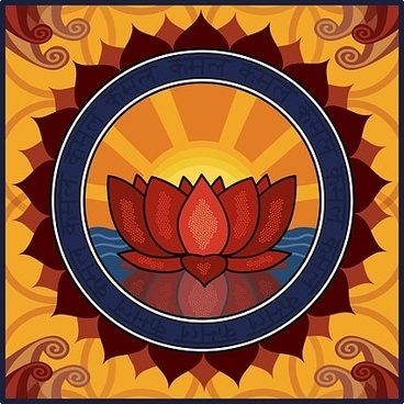 lotus motif background yellow decoration traditional orientation style